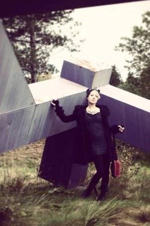 black Dr Martens boots - gray Mustard Seed dress - black Pyon Pyon coat