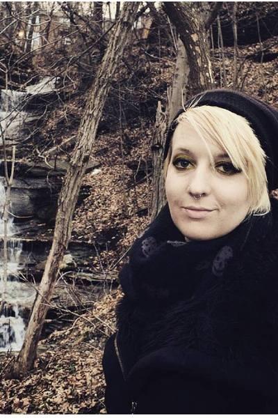 black Jessie G coat - black striped hat - black skull Charlotte Russe scarf