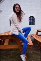light pink skinny Zara blazer - periwinkle sequins Zara jeans