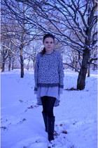 black riding boots Zara boots - heather gray soft jersey Zara dress