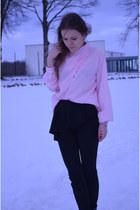 black peplum Zara pants - black studded boots Zara boots