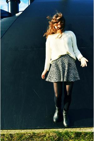 black Mango boots - beige chunky Zara sweater - white Zara skirt