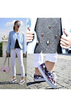 periwinkle Zara jacket - white Stradivarius jeans