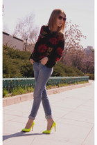 sky blue Zara jeans - yellow H&M heels