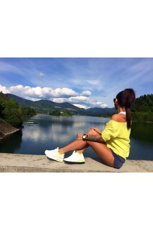 white nike shoes - light yellow Bershka blazer - blue Stradivarius skirt