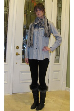 light blue BCBG blouse - black Dex leggings - black Giuseppe Zanotti boots - bla