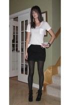 black Ralph Lauren boots - white Target t-shirt - black cynthia steffe skirt - l