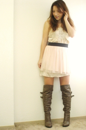 beige Urban Outfitters dress - pink Charlotte Russe skirt - gray Charlotte Russe