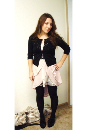 beige Ramielynn My own design dress - black cardigan - black ann taylor tights -