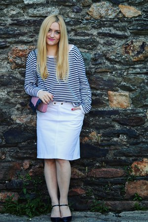 white Ralph Lauren skirt - navy Miss Kg shoes - navy striped H&M sweater