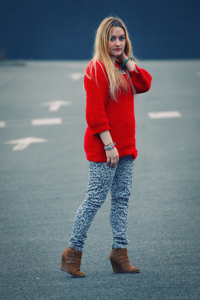 heather gray cheetah print Primark jeans - tan wedge Primark boots