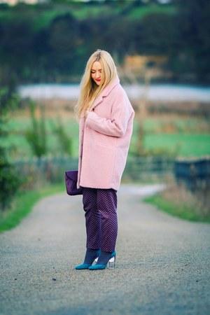 bubble gum oversized Primark coat - deep purple clutch Primark bag