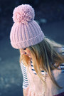 Light-pink-pompon-f-f-hat-black-roots-boots-peach-h-m-dress