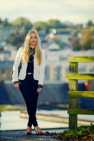 black Primark jeans - white Vero Moda blazer - black lace Only blouse