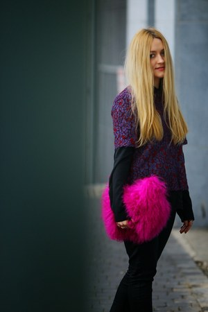 black TK Maxx blouse - black Dunnes jeans - hot pink River Island bag