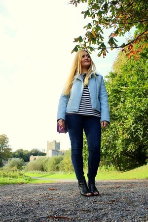 light blue Primark jacket - black River Island boots - navy hm jeans