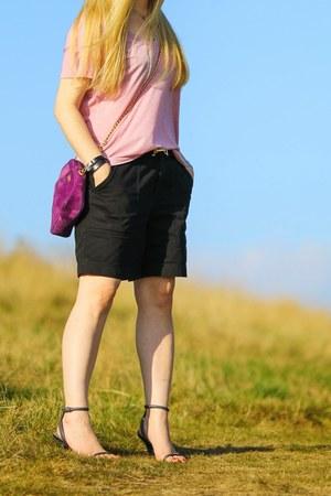 black Ralph Lauren shorts - purple Windsmoor bag - light pink Primark t-shirt
