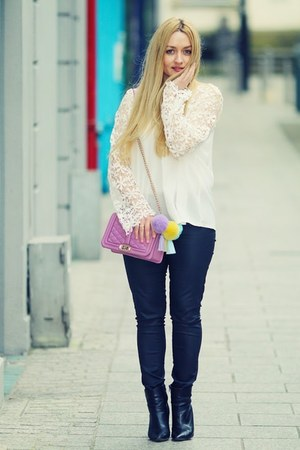 white BangGood blouse - light purple BangGood accessories