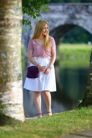 white Primark skirt - purple Windsmoor bag - navy Miss Kg heels