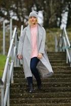 silver lapel split Sheincom coat