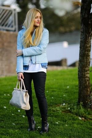 sky blue faux leather Primark jacket - blue denim H&M shirt