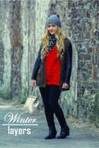 red romwe jumper - black Topshop boots - black Penneys jeans