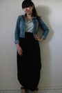 Navy-denim-american-eagle-jacket-black-side-slit-maxi-shirt