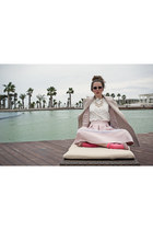 Elisabetta Franchi coat - hot pink COS socks - sheer details Topshop skirt
