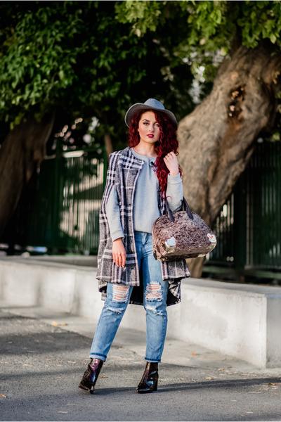 charcoal gray Mango cape - brown Zara boots