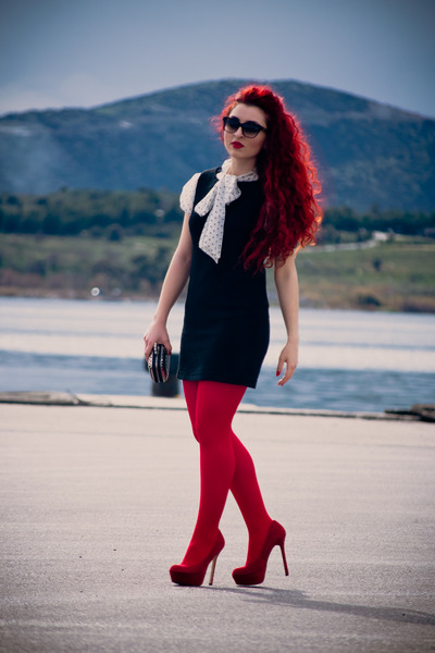 black vintage dress - ruby red Wolford tights - deep purple dior sunglasses