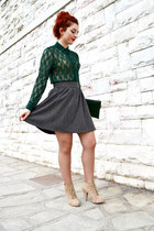 green Zara shirt - heather gray toi&moi skirt