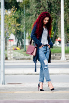 maroon blackfive bag - black Christian Louboutin shoes - puce BSB cardigan