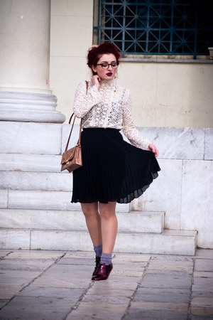 vintage skirt - asos flats - Zara blouse - firmoo glasses