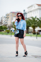 black Zara shorts - sky blue Mango shirt
