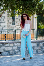 white Newdress top - aquamarine vintage pants