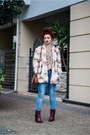 Maroon-mango-boots-cream-zara-jacket