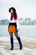 navy ovye boots - burnt orange Zara skirt