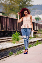 light pink Front Row Shop top - navy Steve Madden shoes - Front Row Shop jeans