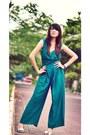 Forest-green-self-designed-romper-periwinkle-miss-sixty-heels