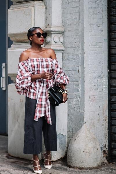 Petersyn top - JWAnderson bag - Karen Walker sunglasses - Valentino heels