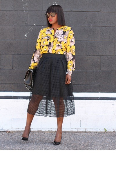 floral blouse - Black Patent shoes - Chanel bag - black sunglasses - mesh skirt