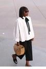 White-blouse-shirt-bamboo-bag-black-sunglasses-black-pants-gold-bracelet