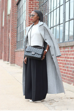 weekday coat - Chanel bag - Oliver Peoples sunglasses - Jcrew sweatshirt