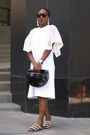 White-flutter-sleeve-dress-black-acrylic-bag-black-sunglasses-sunglasses