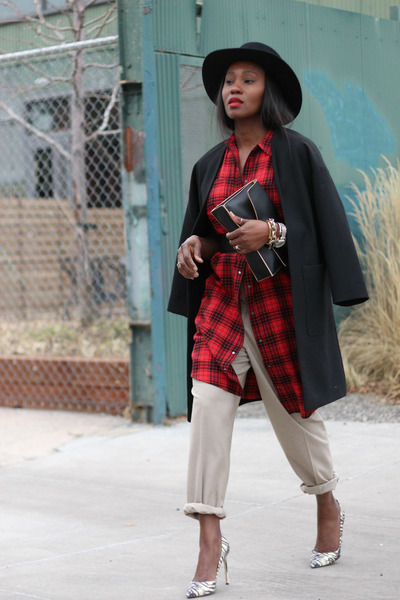 red plaid dress - Fedora hat - PROENZA SCHOULER bag - khaki pants