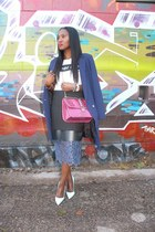Topshop skirt - asos jacket - Valentino bag - Black Score t-shirt