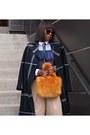 Plaid-coat-faux-fur-bag-silk-blouse-tulle-blouse