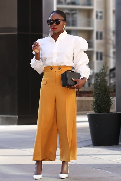 white shirt - Black Box bag - Black Sunglasses sunglasses - yellow pants