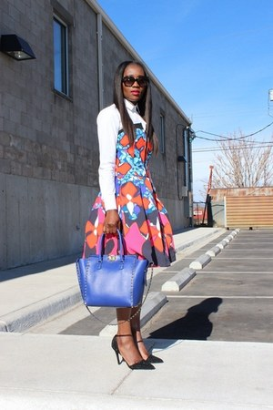 Peter Pilotto For Target dress - Jcrew shirt - Valentino bag - coach heels