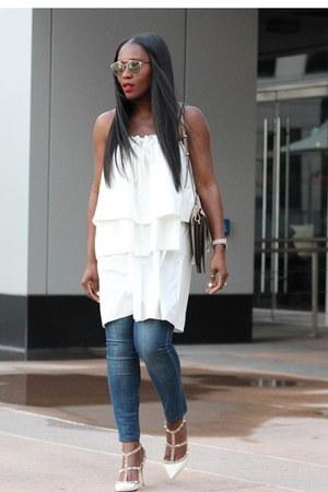 grey watch - White Tiered dress - Blue jeans - black blazer - Grey Flap bag